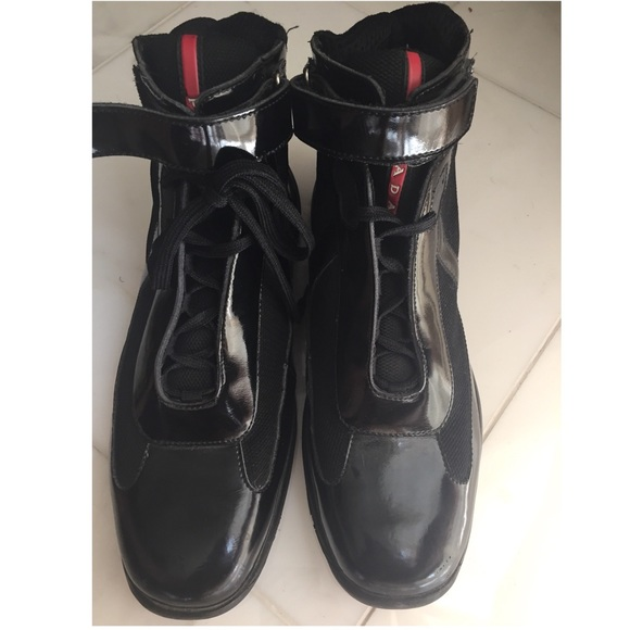 9aa2dced547 PRADA Mens High Top patent black red sneaker Shoes.  M_5ac13ffb2c705dd83b7bfa22